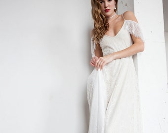 Off Shoulder Wedding Dress, Boho Wedding Dress, Hippie Wedding Dress, Romantic Wedding Dress, Vintage Wedding Dress - Paris Dress