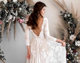 Long Sleeve Boho Wedding Dress, Open Back Wedding Dress, Low Back Wedding Dress, Boat Neck Wedding Dress, Eco-Friendly Gown - The Ari Dress
