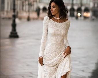 b03b690c309d Long sleeve lace wedding dress