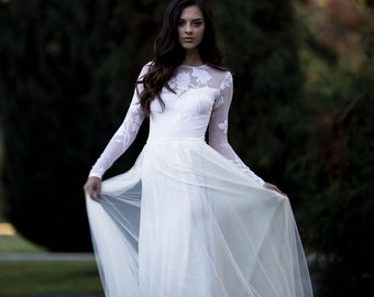 Long Sleeve Wedding Dress, Lace Sleeve Wedding Dress with Chiffon and Soft English Tulle Skirt - Keira Dress