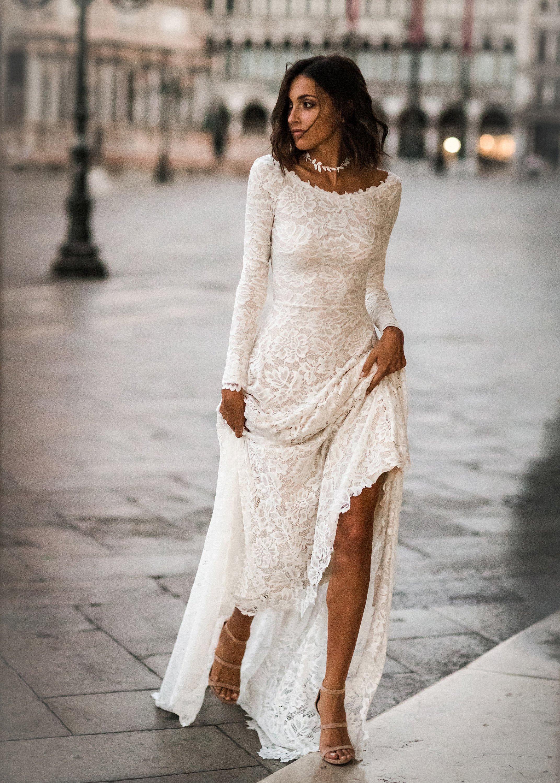 Long Sleeve Wedding Dress Lace Long Sleeves Boho Wedding Etsy