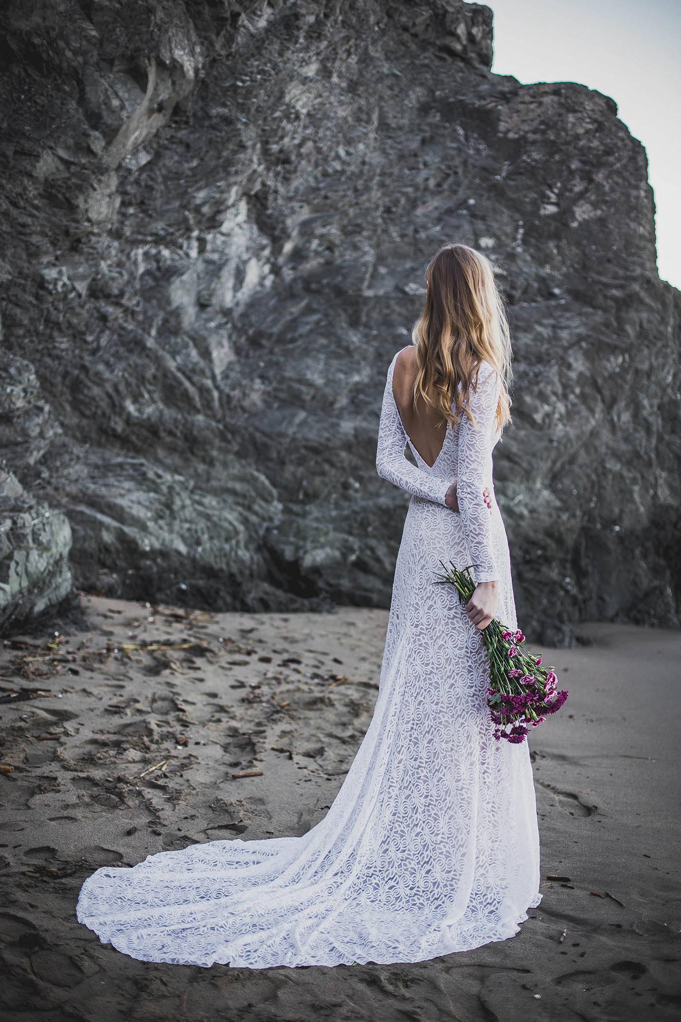 95ee23e409e2a Low Back Wedding Dress High Neck Wedding Dress Long Sleeve   Etsy