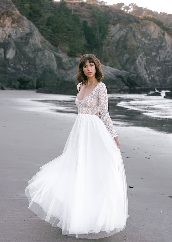 Lace Long Sleeve Wedding Dress Lace Wedding Dress Geometric Etsy