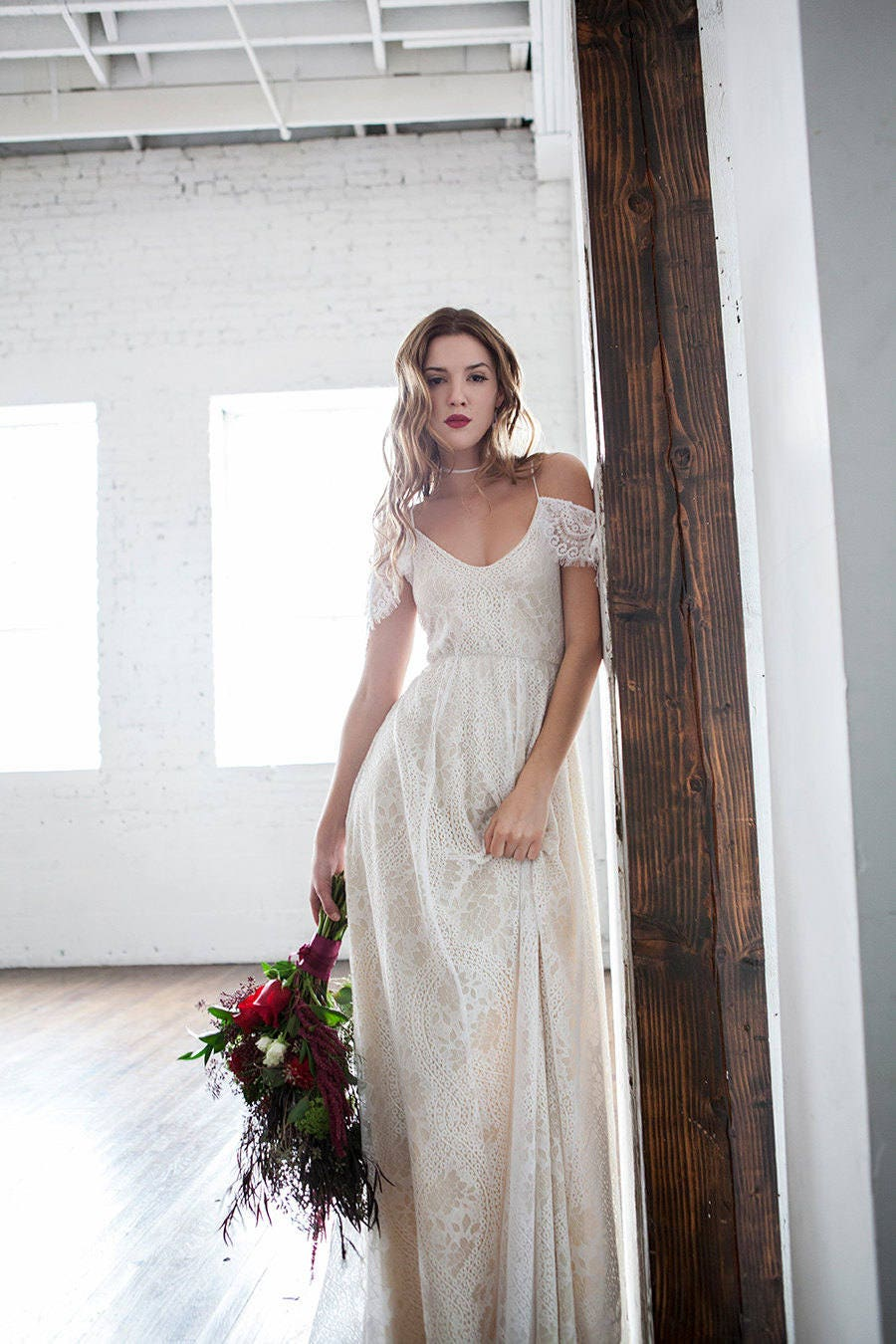 Boho Wedding Dress Off Shoulder Wedding Dress Hippie Wedding