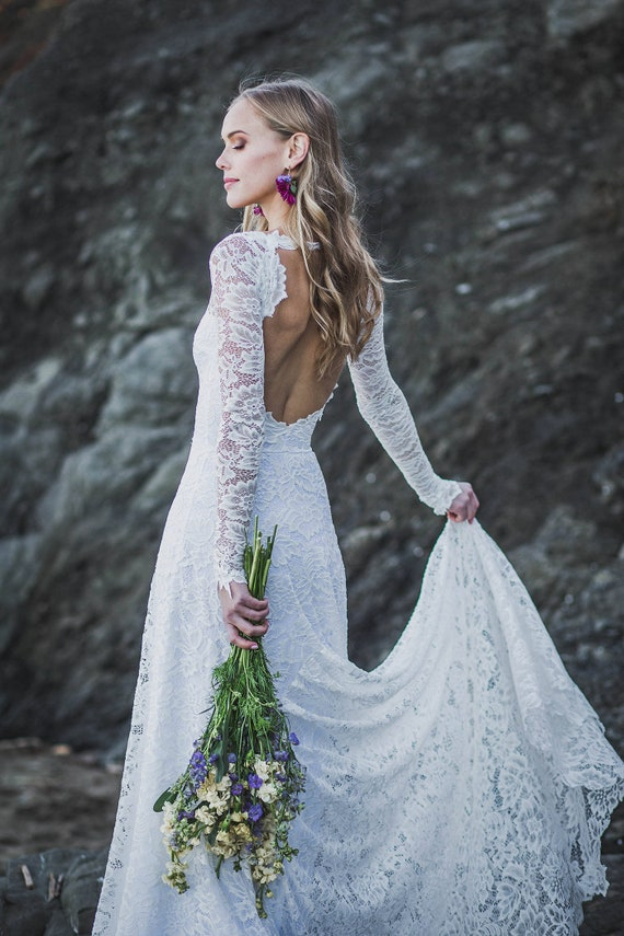Long Lace Back Wedding Dresses