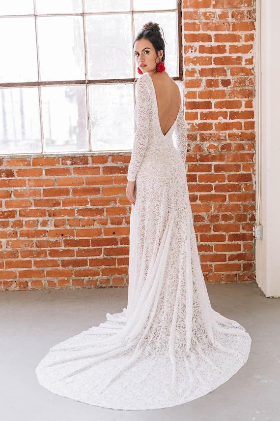 Low Back Wedding Dress High Neck Wedding Dress Long Sleeve Wedding Dress Open Back Wedding Dress Lace Wedding Dress Cleo Dress