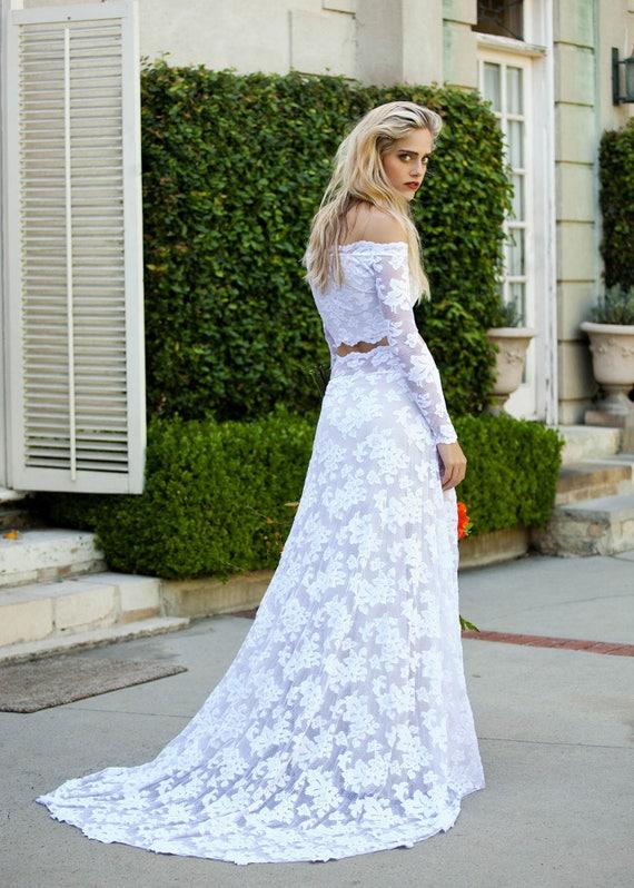 2f3012bd0a Two Piece Wedding Dress Long Sleeve Wedding Dress Off