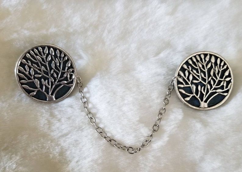 color- silver and teal Trees Cloak clasps