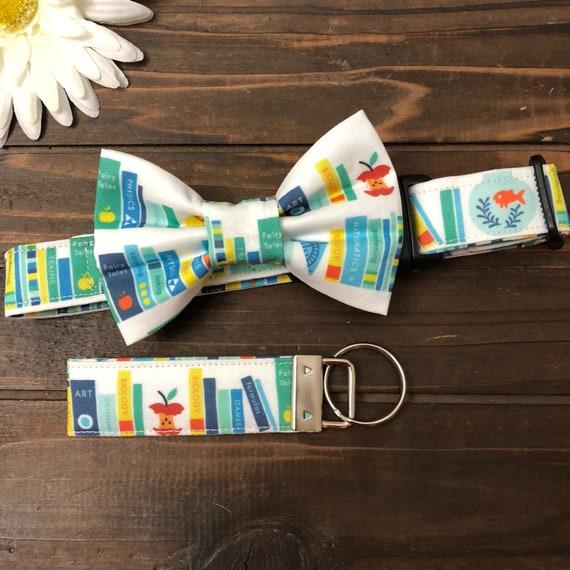 Dog collar, Collar with bow tie, book collar, book key chain, reading dog  collar, dog bow tie, therapy dog, story dog collar, goldfish dog