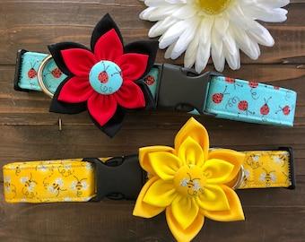 Dog Collar, Collar Flower, bee Dog Collar, bumble bee Dog Collar, spring dog collar, ladybug collar, lady bug dog collar, collar with flower