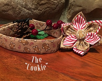 Dog Collar, Collar Flower, winter Dog Collar, gingerbread man Dog Collar, christmas dog collar, collar flower, cookie dog collar ,