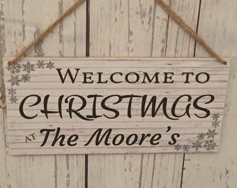 NEW CHRISTMAS WELCOME Personalised plaque sign wall hanging