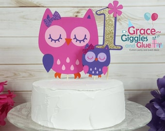3pc Glitter Owl Cake Topper