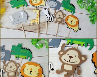 12 Safari/Jungle Themed Cupcake  Toppers