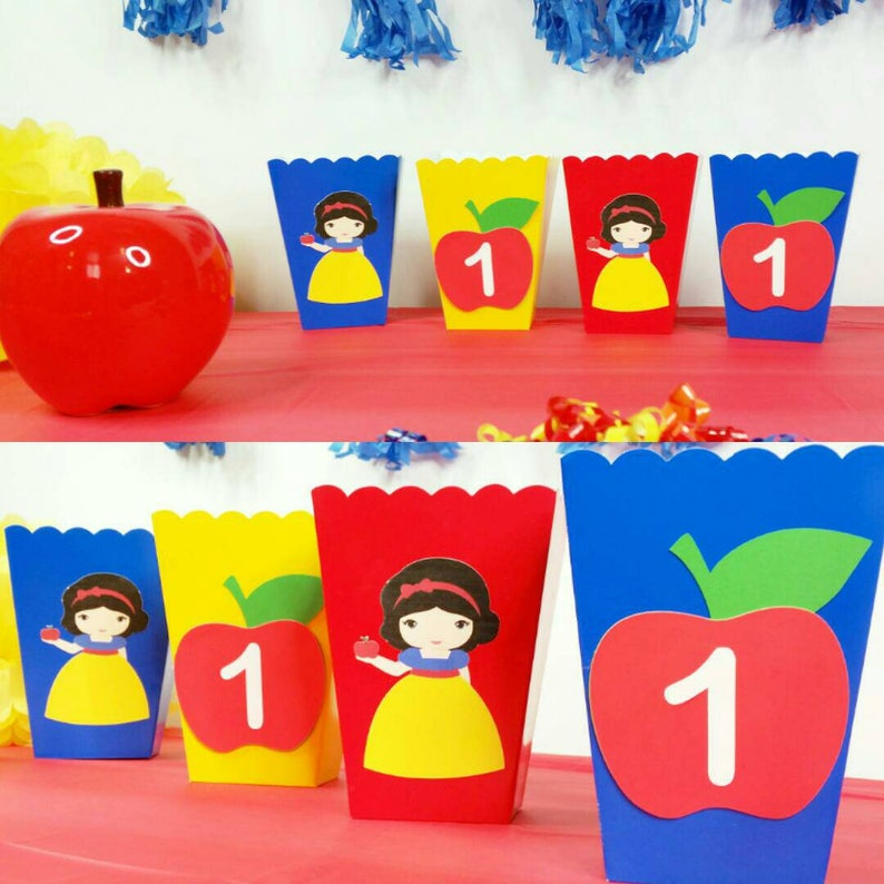 10 Personalized Snow White Inspired Favor Snack Boxes