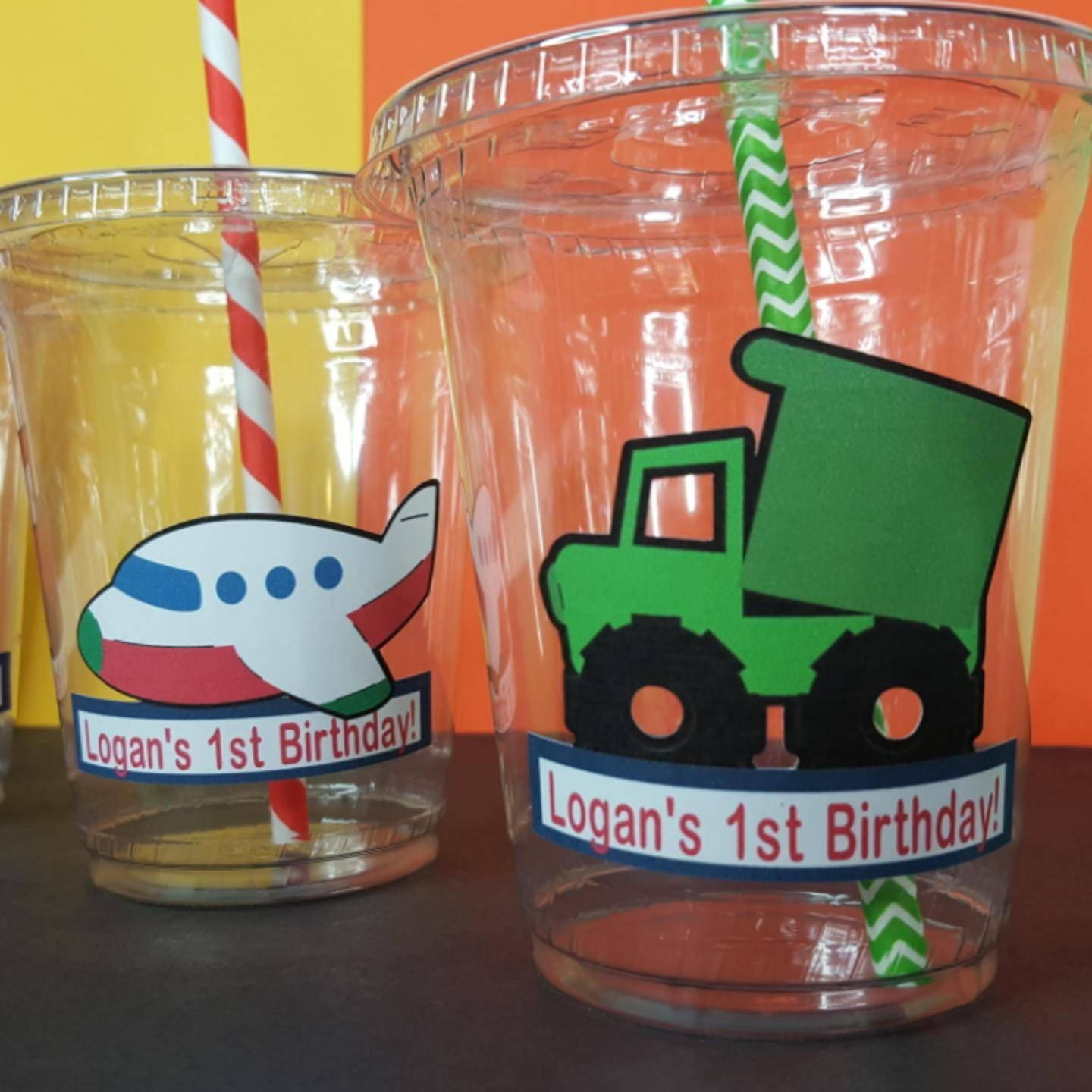 12 Personalized Transporation Themed Birthday Party Cups with Straws and Lids!