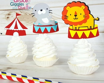 12 Circus or Carnival Cupcake Toppers, County Fair  Cupcake Toppers