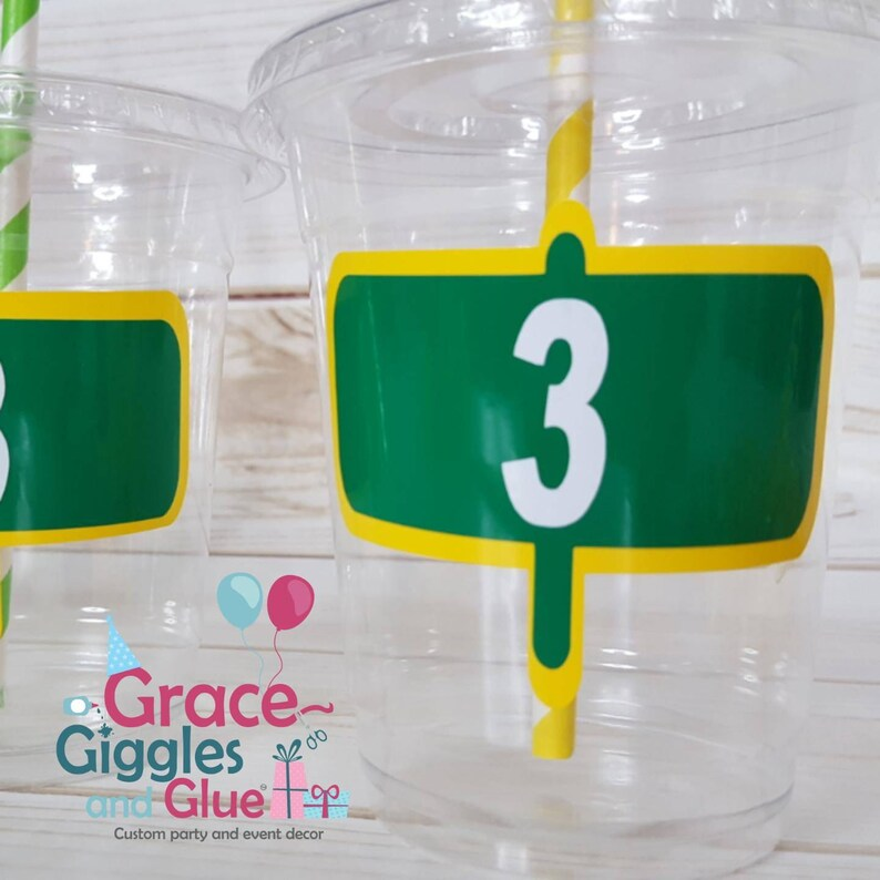 12 Personalized Street Themed Party Cups with straws and Lids