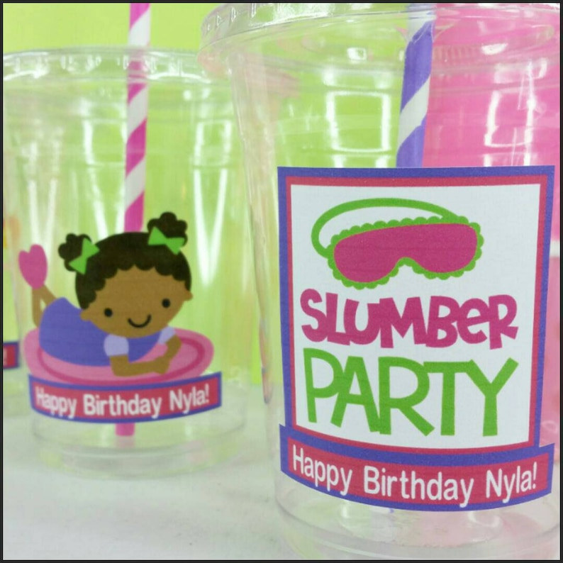 12 Personalized Slumber PartySleepover Themed Party with Straws and Lids