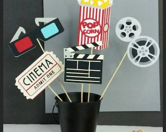 5 pc Movie Centerpiece, Movie Cake Toppers!