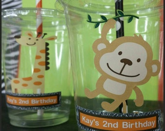 12 Personalized Safari Themed Party Cups with  Straws and Lids!, Safari  Party Favors