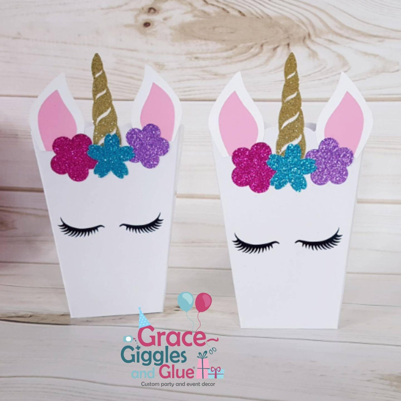 Unicorn Party Popcorn Boxes for 10 Guests