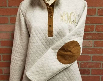 c0252e168ff Personalized Ivory with Mocha Quilted Pullover Tunic, Monogrammed Women's  Top