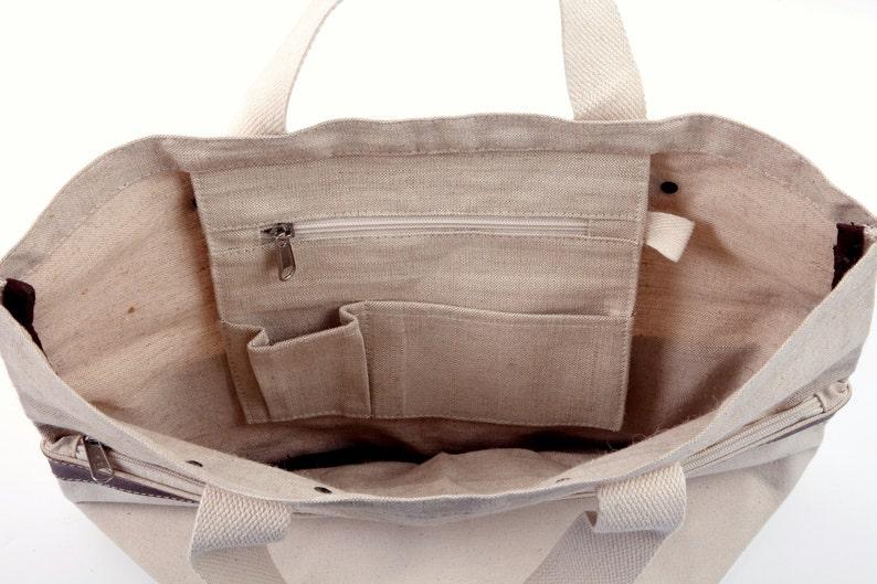 Monogrammed Natural Jute Canvas Tote Tote Bag