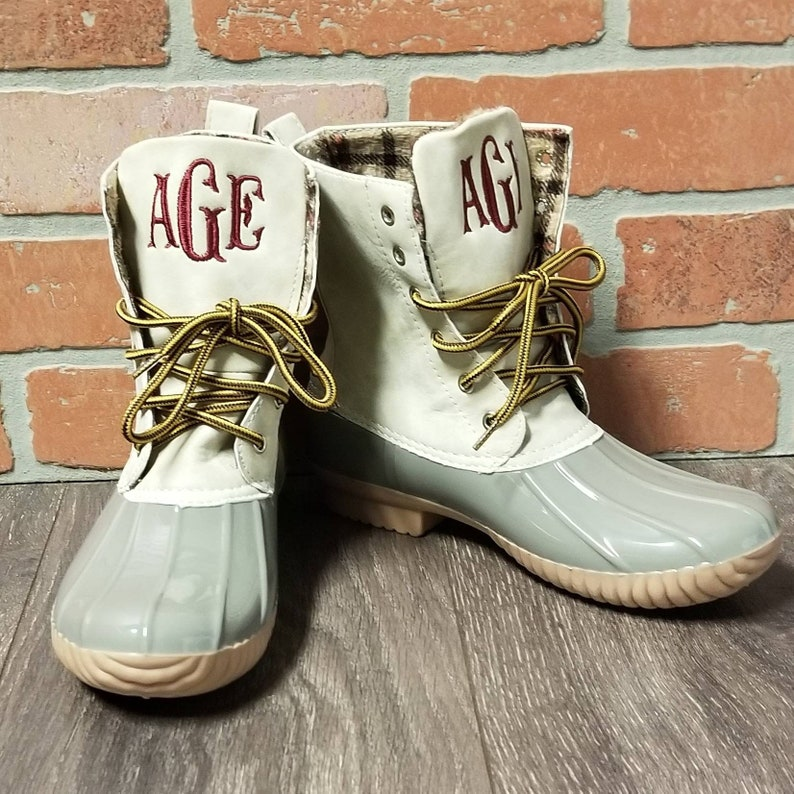 237af45072866 Personalized Gray Duck Boots, bean boots Monogrammed Duck Boots