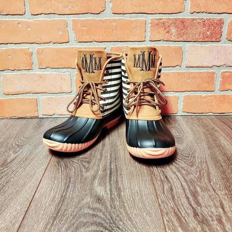 Personalized Black Striped Duck Boots Monogrammed Duck Boots