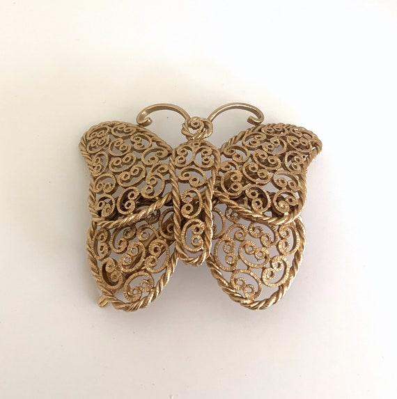 Butterfly Barrette - Metal Lace - Gold Color - Vin