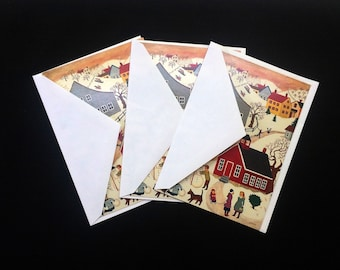 Gibson greetings inc etsy small town christmas card set of 3 cards gibson greeting cards inc colorful winter day vintage 1990 greeting card m4hsunfo