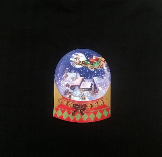 Vintage Christmas Snow Globes.Christmas Snow Globe Card Santa Sleigh With Reindeer Flying Over Snow Covered Roof Tops Caspari Vintage Christmas Greeting Card 1996