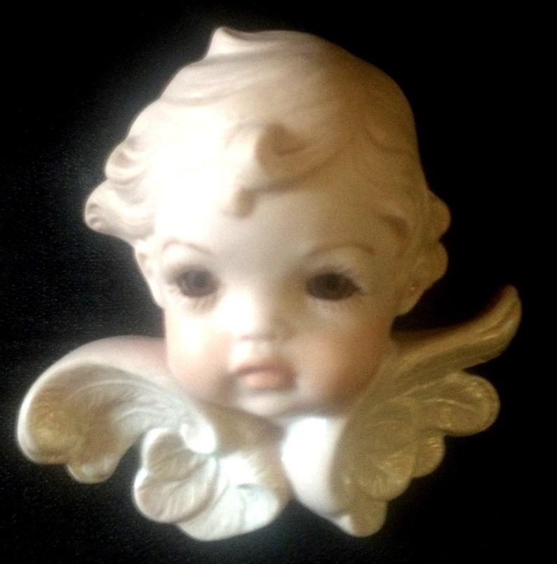 Wall Decoration Porcelain Bisque Brown Eye Angel Vintage 1980/'s Vintage Home Decor