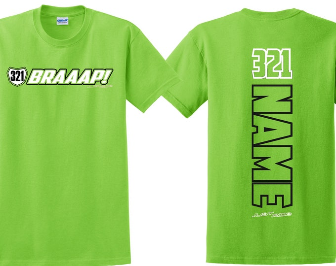 Featured listing image: Braaap! Motocross Number Plate T Shirt Just Ride MX Moto Race Youth Child Braap