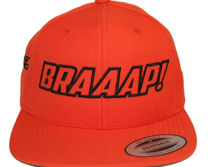 Featured listing image: Braaap! Motocross Hat Cap Snapback MX Moto Dirt Bike lime Kawasaki KX Youth Adult