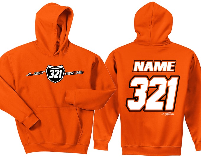 Featured listing image: Motocross Hoodie Sweat Shirt Just Ride MX Moto Dirt Bike Racing Orange KTM Youth Adult