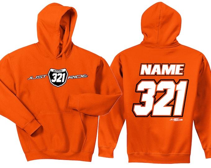 Featured listing image: Motocross Hoodie Sweat Shirt Just Ride MX Moto Dirt Bike Racing Orange KTM Youth Adult