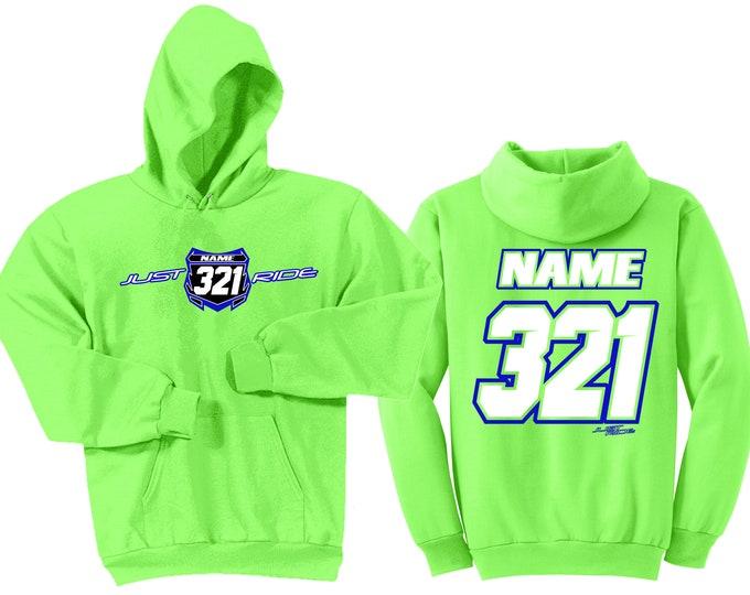 Featured listing image: Motocross Hoodie Sweat Shirt Just Ride MX Moto Dirt Bike Racing Lime Green Kawasaki Youth Adult Lime Green