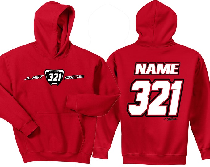 Featured listing image: Motocross Hoodie Sweat Shirt Just Ride MX Moto Dirt Bike Racing Red Honda CR Youth Adult