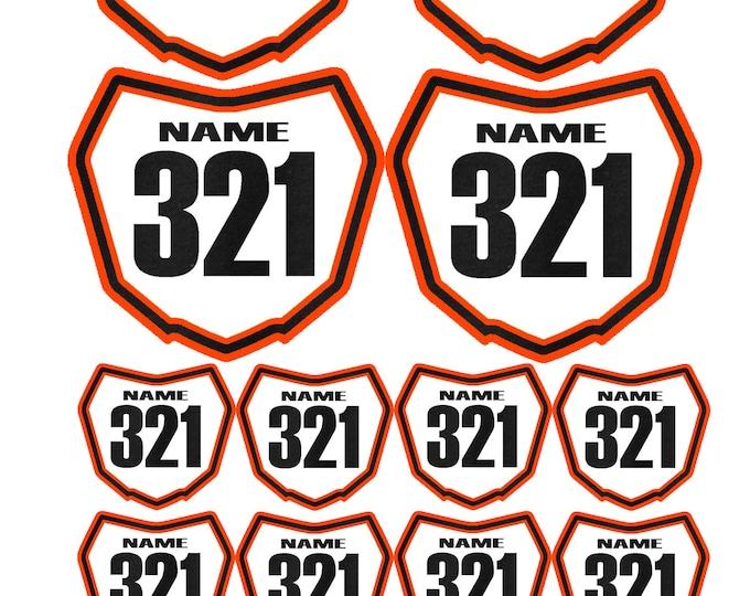 Featured listing image: Just Ride Motocross Replica Number Plate Decals MX Moto Dirt Bike Racing Orange KTM