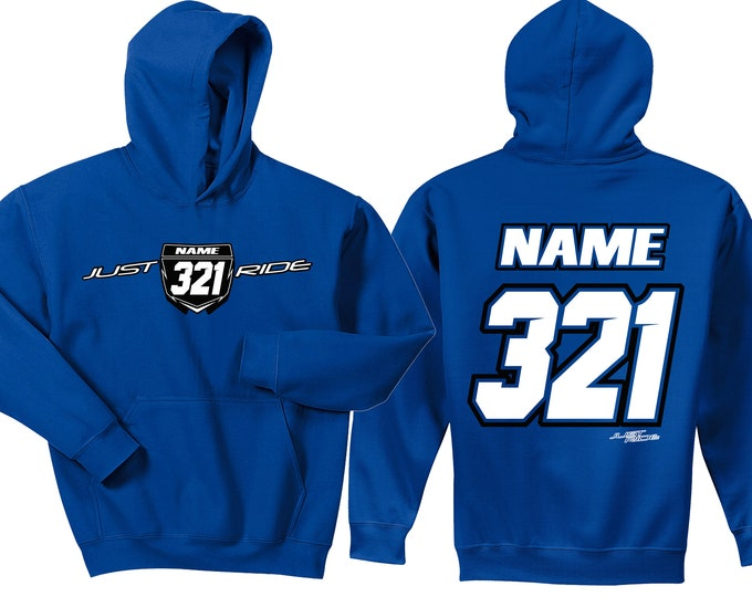 Featured listing image: Motocross Hoodie Sweat Shirt Just Ride MX Moto Dirt Bike Racing Blue YZ Yamaha Youth Adult