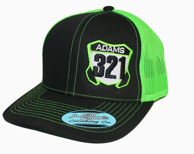 Featured listing image: Just Ride Motocross Number Plate Hat Curved Bill Snapback Cap Moto Dirt Bike Lime Green Kawasaki KX