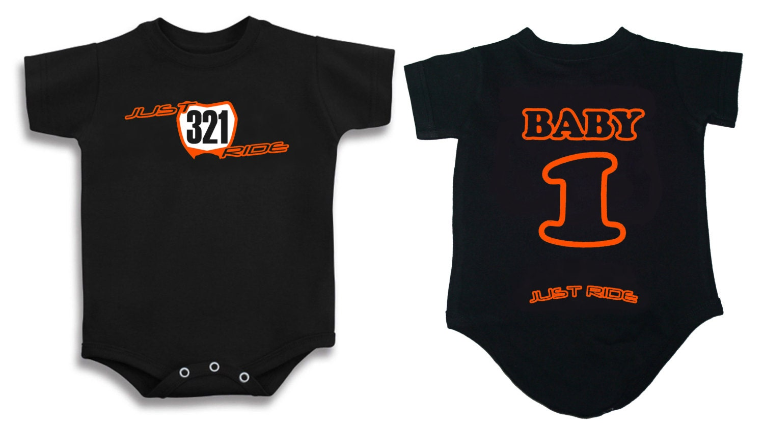 MOTOCROSS BABY NUMBER PLATE ONE PIECE SHIRT INFANT MX JUST RIDE KTM SX ORANGE
