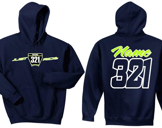 Featured listing image: Motocross Hoodie Sweat Shirt Number Plate Just Ride MX Moto Dirt Bike Racing Navy Husqvarna KTM Adult Youth