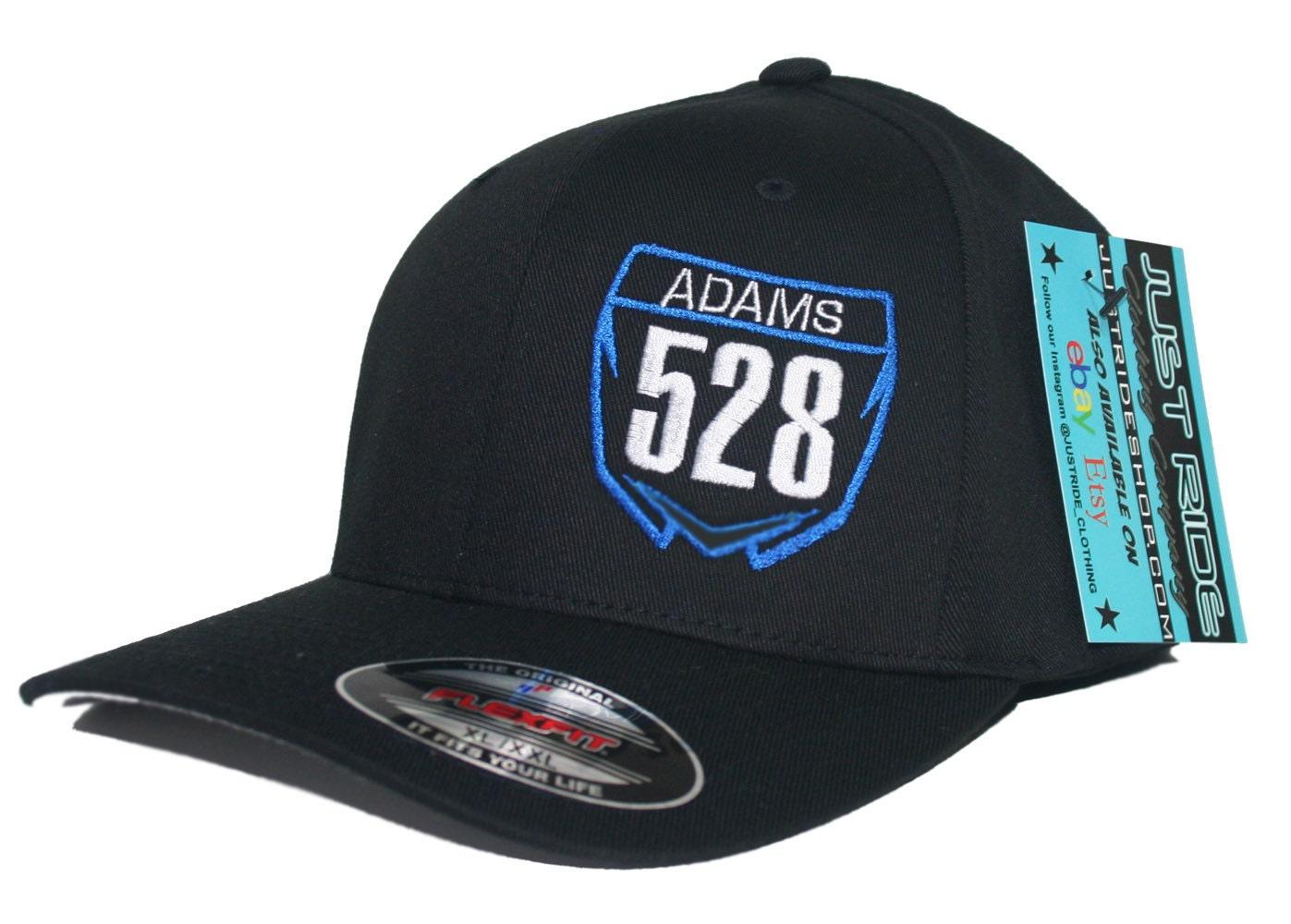 4e30e3ab3b821 Motocross Number Plate Hat Flexfit Curved Bill Cap Moto Dirt Bike Yamaha