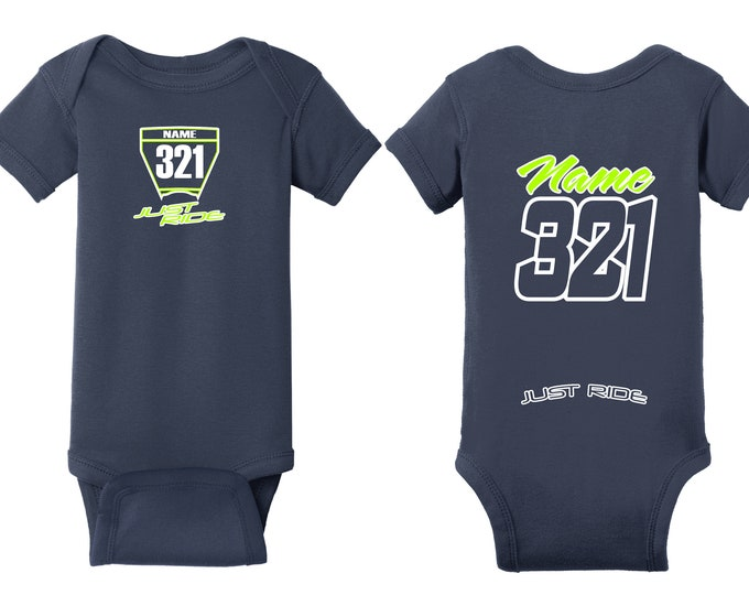Featured listing image: Motocross Baby T Shirt Creeper Infant One Piece Husky Husqvarna Navy Number Plate MX Moto