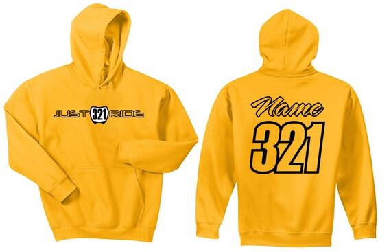 Just Ride Motocross Hoodie Sweatshirt Number Plate Custom Personalized Orange