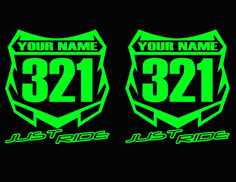 Motocross number plate decal sticker custom name number mx moto just ride kawasaki kx