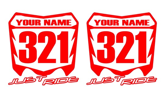 MOTORCYCLE NUMBER PLATE DECALS MOTOCROSS STICKERS VINTAGE MX ATV SX CR KX YZ BMX
